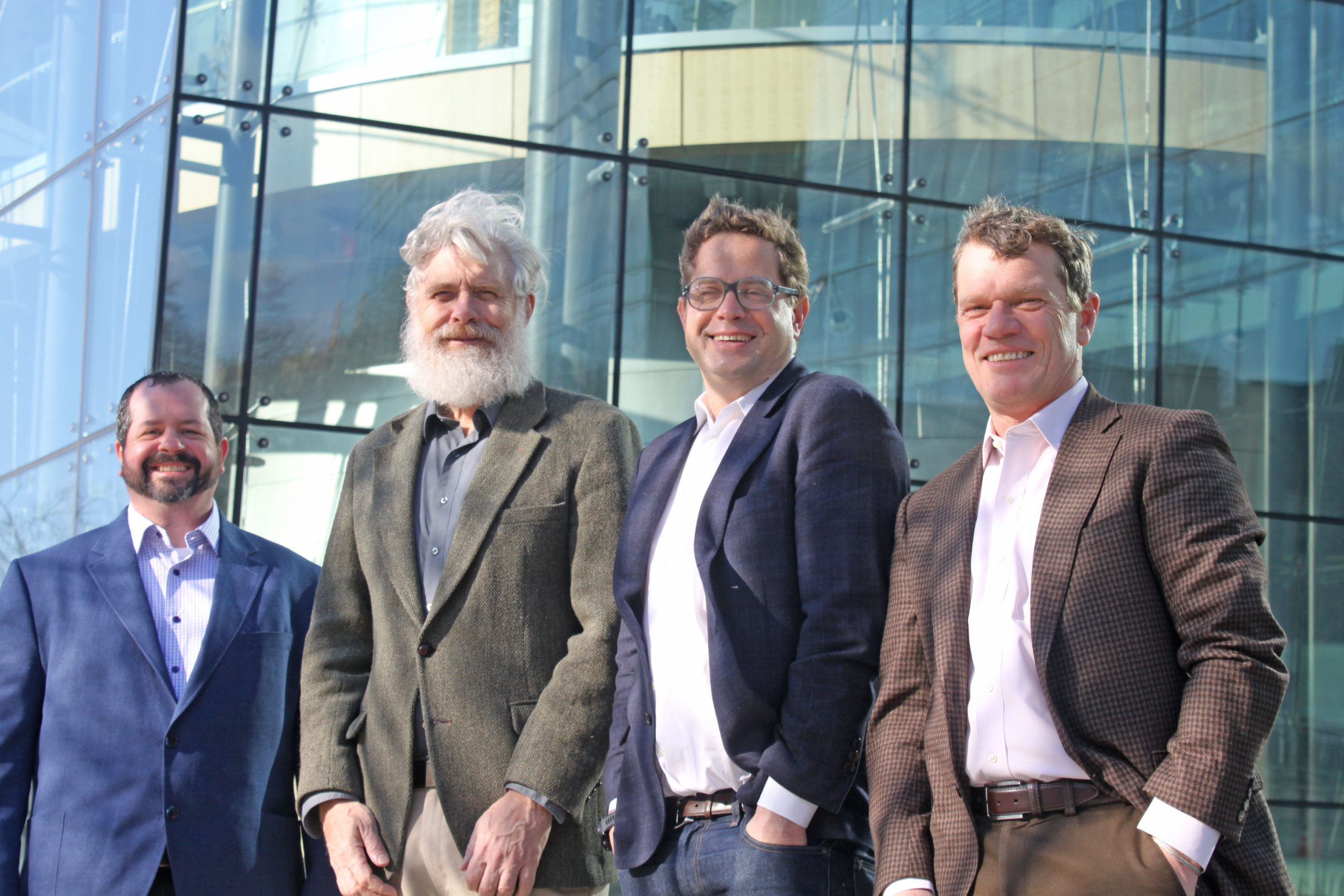 L-R: Jay Konieczka (COO, Co-founder, enEvolv), George Church (Co-founder, enEvolv), Josh Hoffman (CEO, Zymergen), Colin South (CEO, enEvolv)