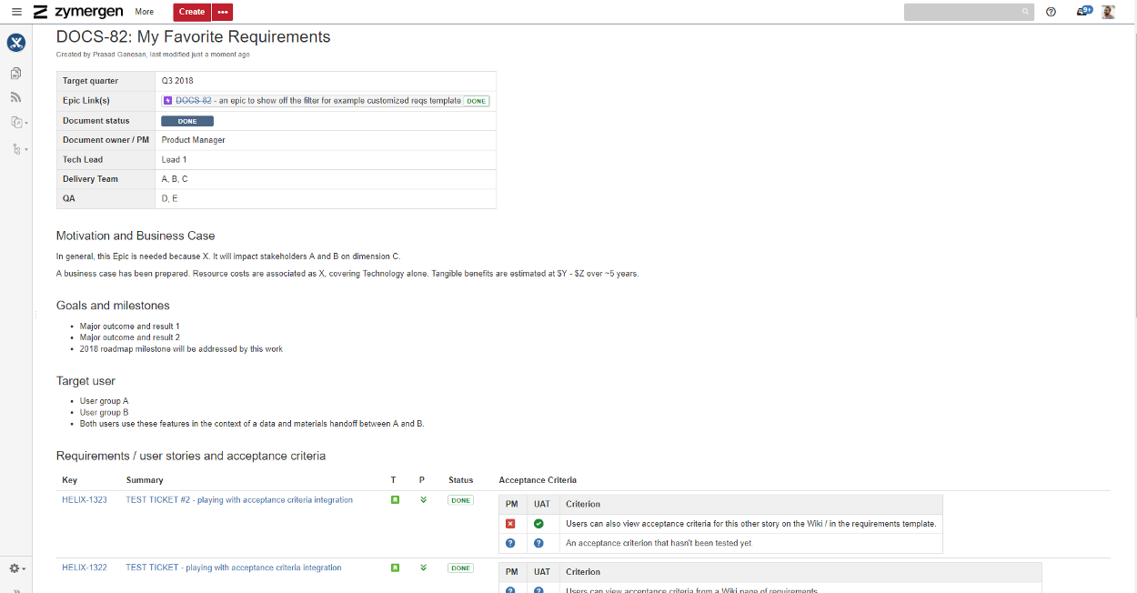 Adding project requirements to JIRA