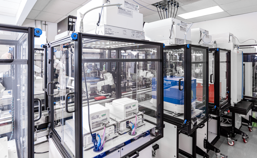 A connected system of Reconfigurable Automation Carts (RACs) in one of our automated labs.