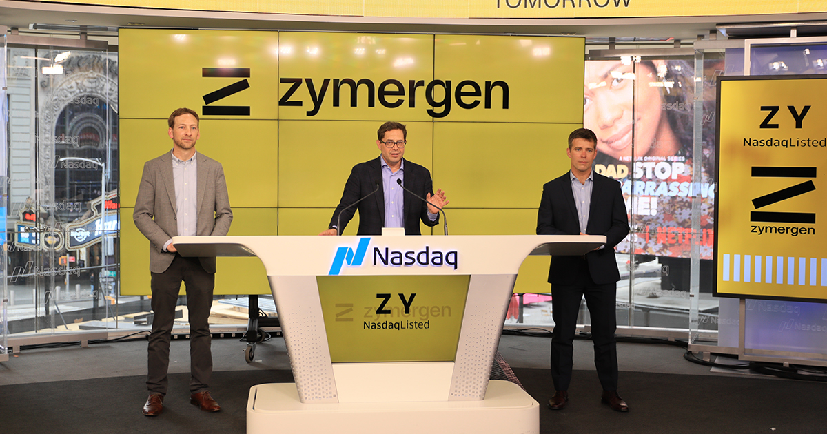 The three founders of Zymergen at its IPO